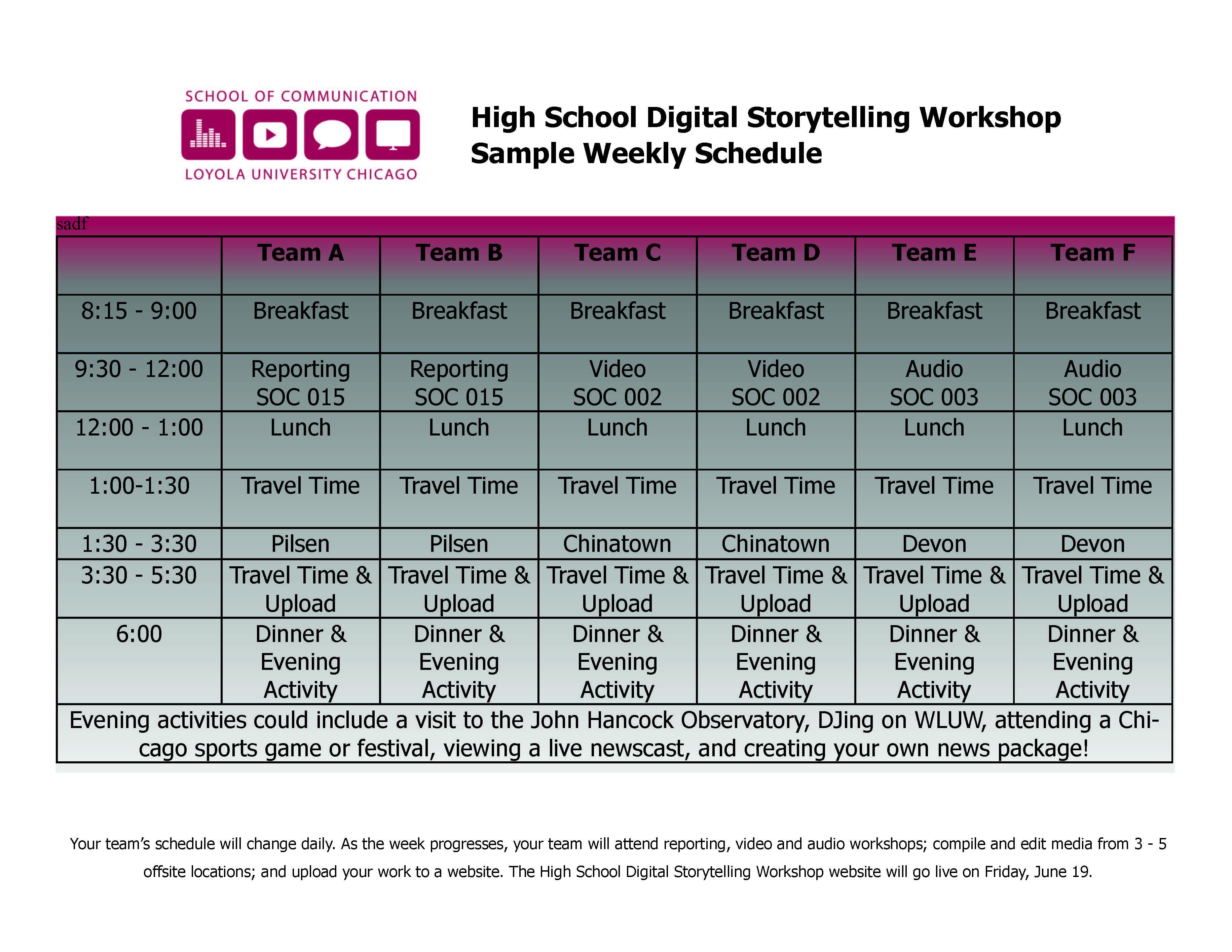 Sample Schedule | Loyola Summer Stories
